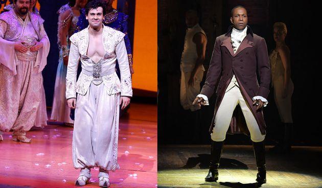 Aladdin superstar Ainsley Melham (left) could pull off the winning verses of Leslie Odom Jr's (right)...