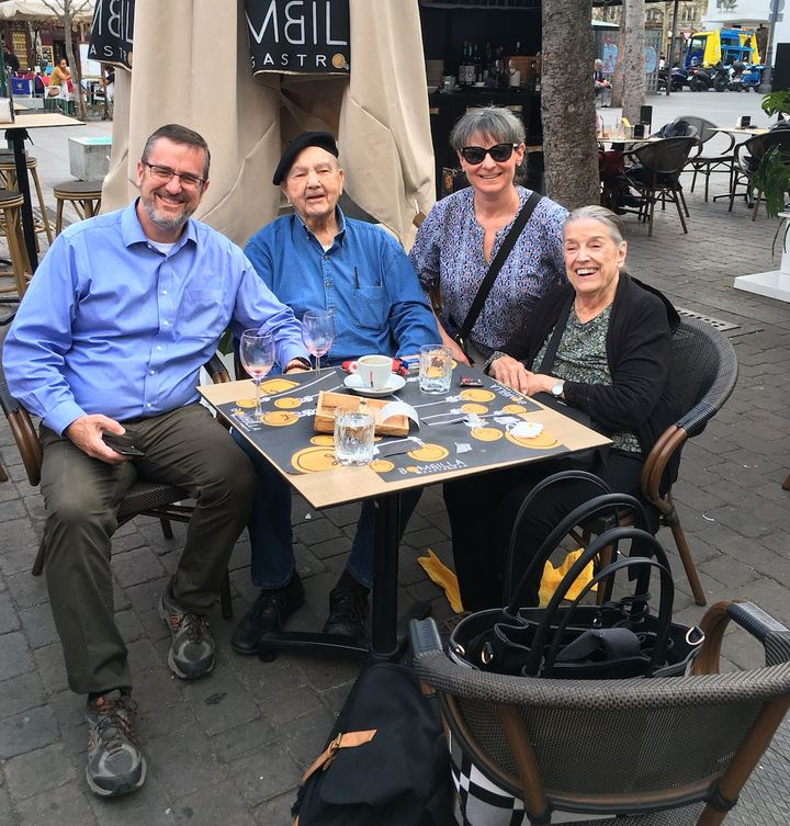 The author enjoying tapas at Plaza de Santa Ana in Madrid, Spain, with his parents and his wife in March.