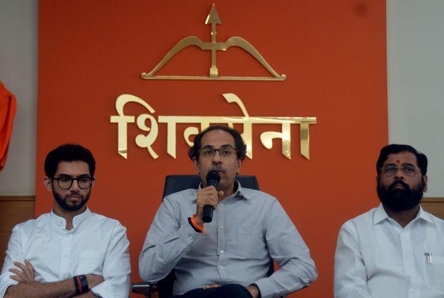 Shiv Sena president and Maharashtra CM Uddhav Thackeray with his son Aaditya and senior minister Eknath...