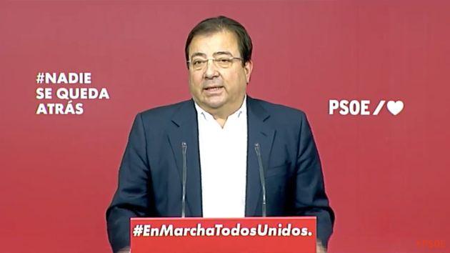 El secretario general del PSOE de Extremadura, Guillermo Fernández Vara, este viernes 11 de