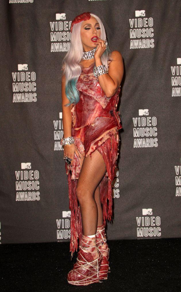 Gaga backstage at the 2010 VMAs
