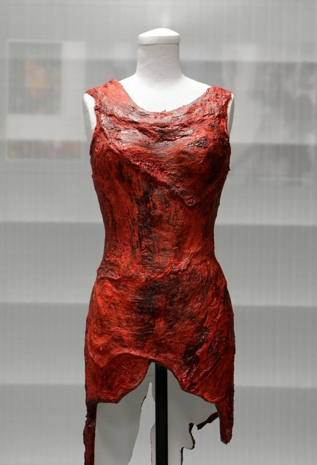 The meat dress as it looked in 2011 after being submitted to theRock And Roll Hall Of Fame