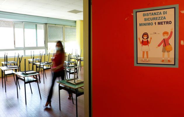 Preparations are made at the Simonetta Salacone primary and secondary school ahead of reopening on September...