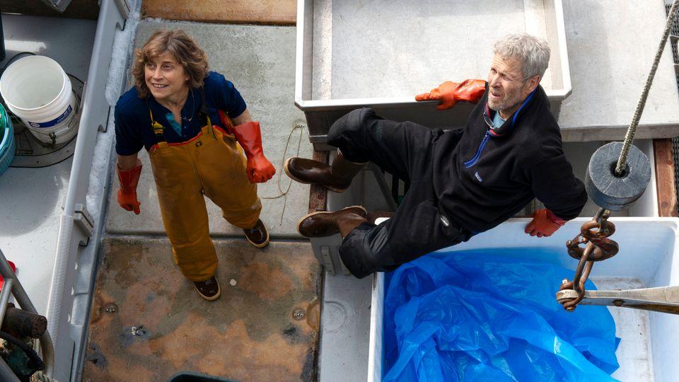 Linda Behnken and her husband, Kent Barkhau, aboard the Woodstock on Sept. 4.