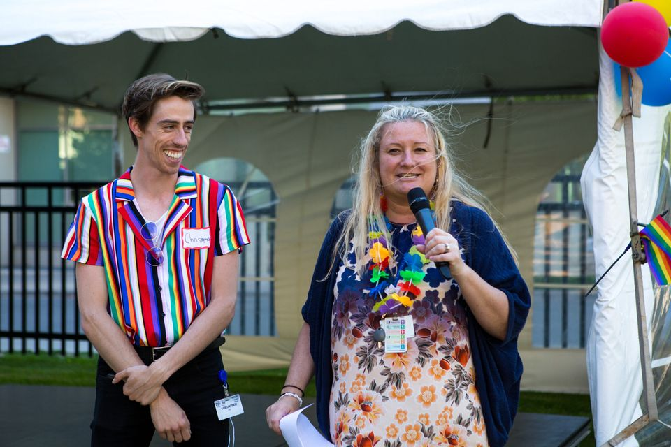 Barbara Michalik (right) at the Time after Time – Bridging the Gap Pride event at Rekai Centres in