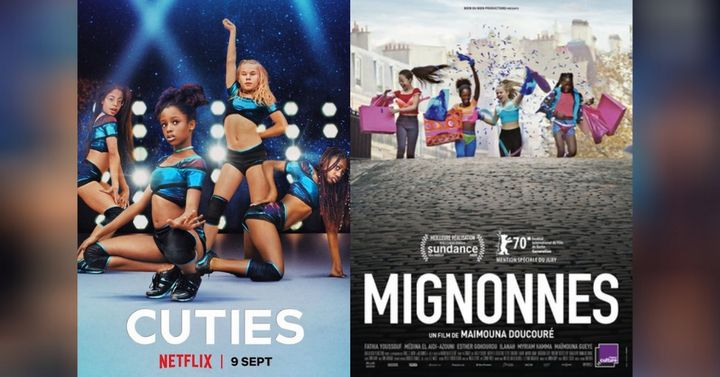 "Netflix's poster for ""Cuties"" (left), poster released for ""Mignonnes"" at Sundance (right)"
