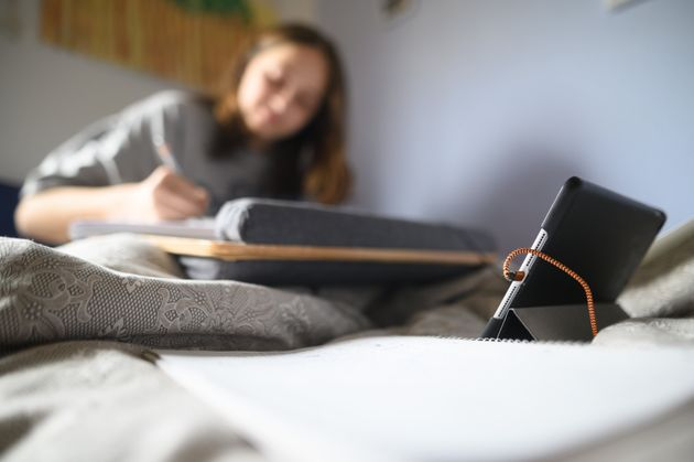 A student working at