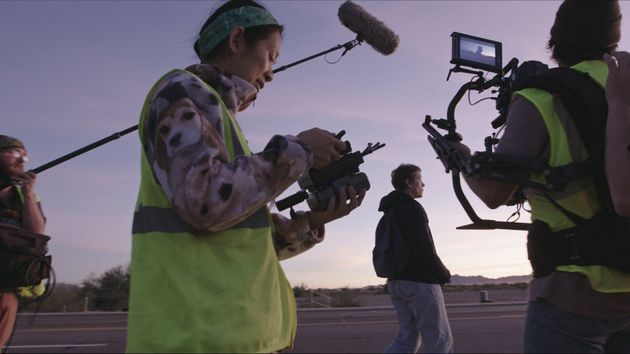 Director/Writer Chloà Zhao and Frances McDormand on the set of NOMADLAND. Photo Courtesy of Searchlight...