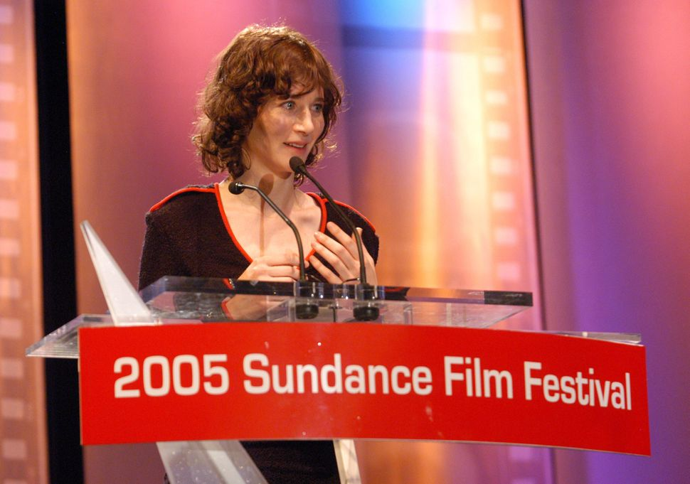 "July accepts a jury prize for ""Me and You and Everyone We Know"" at the Sundance Film Festival in 2005."