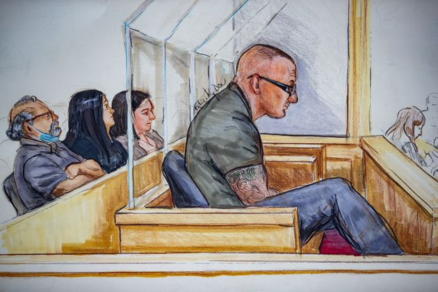 In this courtroom sketch, reputed gang leader Jamie Bacon is seen sitting in a courtroom at B.C. Supreme...