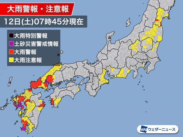 大雨警報、注意報、土砂災害警戒情報の発表状況