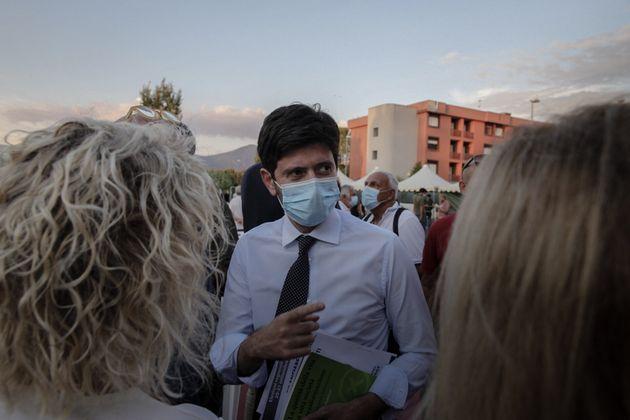 Italian minister of health, Roberto Speranza having a Speech in Pisa, September 7th 2020; During the...