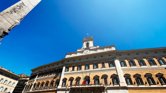 Facade of the Montecitorio Palace in Rome, seat of the Italian Chamber of Deputies in a sunny