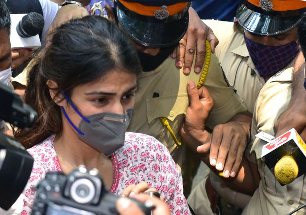 MUMBAI, INDIA - SEPTEMBER 6: Rhea Chakraborty reached NCB office from her residence at Juhu Tara road,...