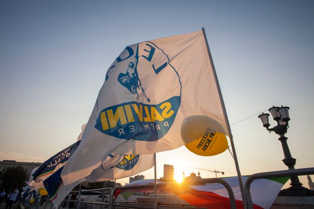 BARI, ITALY - SEPTEMBER 12: A flag waves with the name of the leader of the Lega Nord Matteo Salvini...