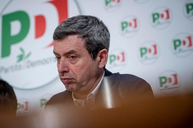 ROME, ITALY - FEBRUARY 13: Vice-Secretary of Democratic Party (PD) Andrea Orlando attends a press conference...