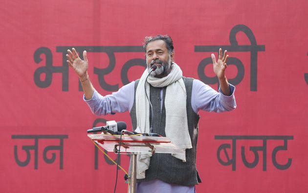NEW DELHI, INDIA FEBRUARY 05: Politician, Yogendra Yadav during a protest agains CAA, CAB, NRC and budget...