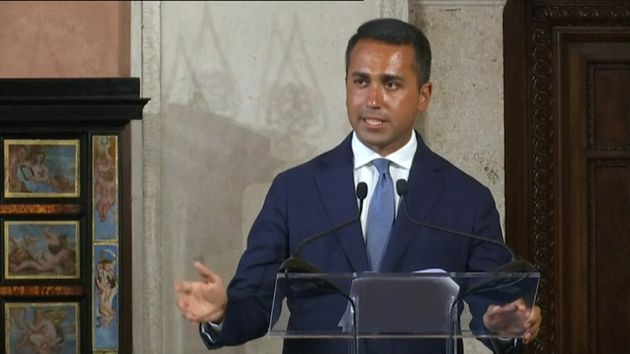 Italian Foreign Minister Luigi Di Maio speaks during a news conference with Chinese Foreign Minister...