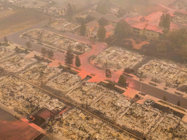 In this aerial view from a drone, homes destroyed by wildfire are seen on Sept. 12 in Talent, Oregon. Hundreds of homes in Talent and nearby towns have been lost due to wildfire.