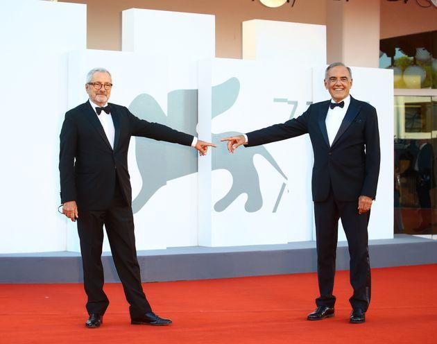 Roberto Cicutto and Alberto Barbera walk the red carpet ahead of closing ceremony at the 77th Venice...