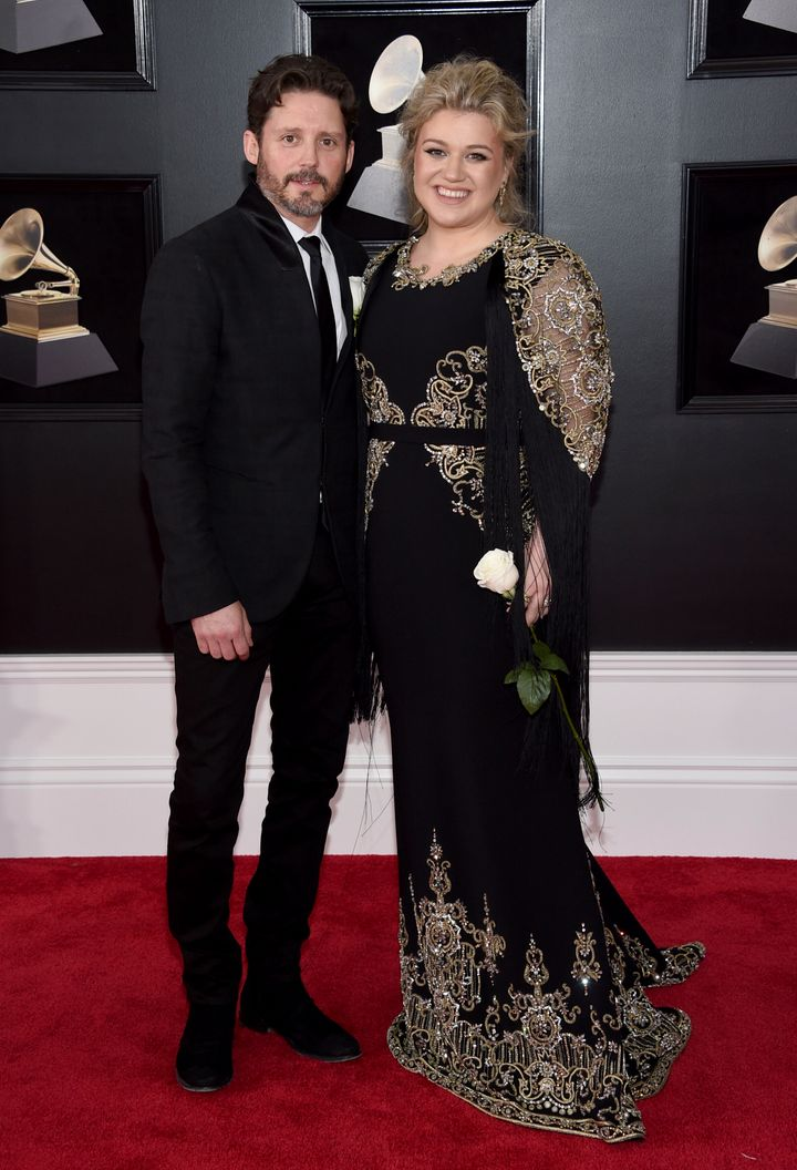 Kelly Clarkson and Brandon Blackstock at the Grammy Awards in 2018.