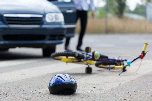 Horizontal view of accident on pedestrian