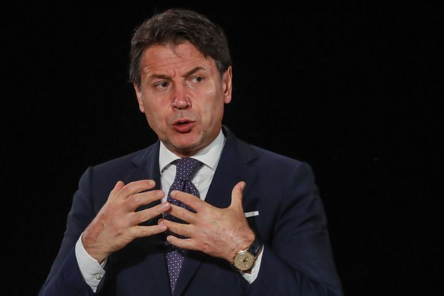 Italy's Prime Minister Giuseppe Conte speaks during the closing press conference of the seventh MED7...