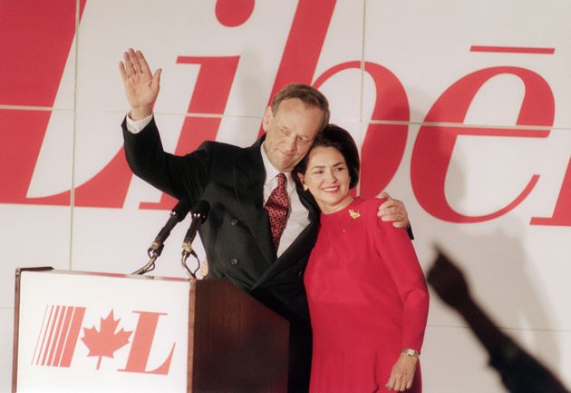 Canada Prime Minister designate Jean Chretien and his wife Aline at the Liberal Party's headquarters...