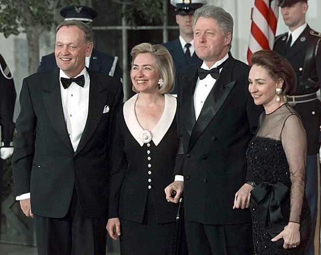 The Clintons hosted the Chretiens at an official White House dinner in
