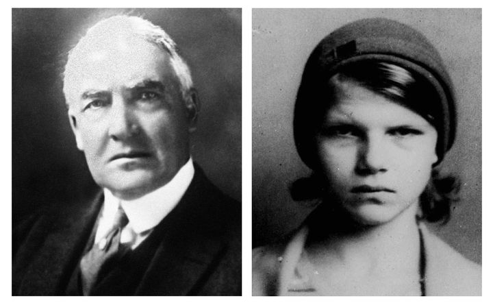 This combination of file photos shows former President Warren G. Harding, left, and Elizabeth Ann Britton. Genetic tests prov