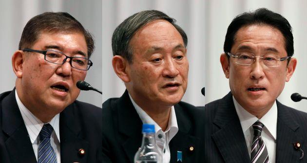 左から石破茂氏、菅義偉氏、岸田文雄氏