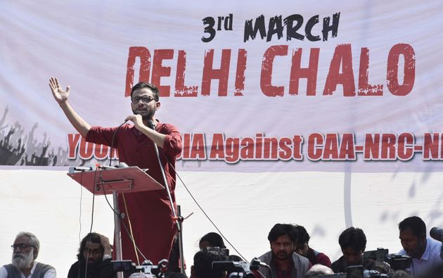 Umar Khalid addresses the audience during the Young India March, a protest march against the Citizenship...