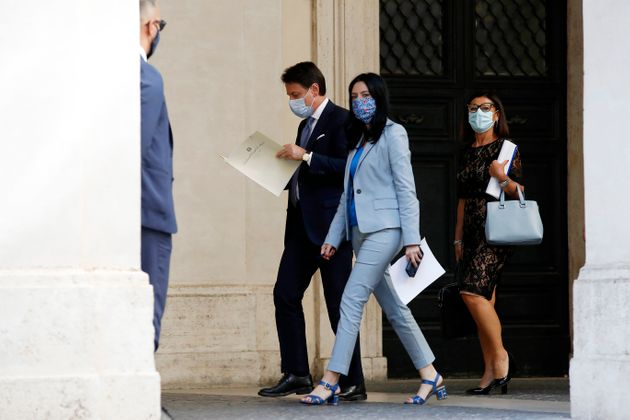 Giuseppe Conte, Lucia Azzolina and Paola De Micheli after the press conference on anti Covid measures...