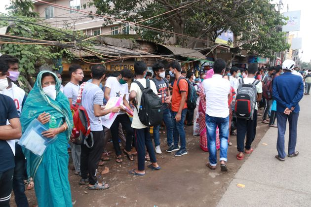 Students at an examination centre to take the NEET exam near Kolkata City on September 13,
