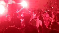 Fanáticos del Olympique de Marsella celebran su victoria sin respetar las medidas
