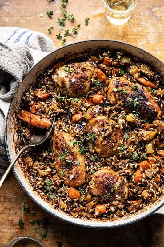 One-Pot Lemon Rosemary Dijon Chicken and Butter-Toasted Rice Pilaf from Half Baked Harvest