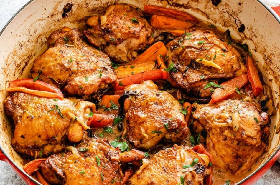 Easy Braised Chicken Thighs from Well and Tasty