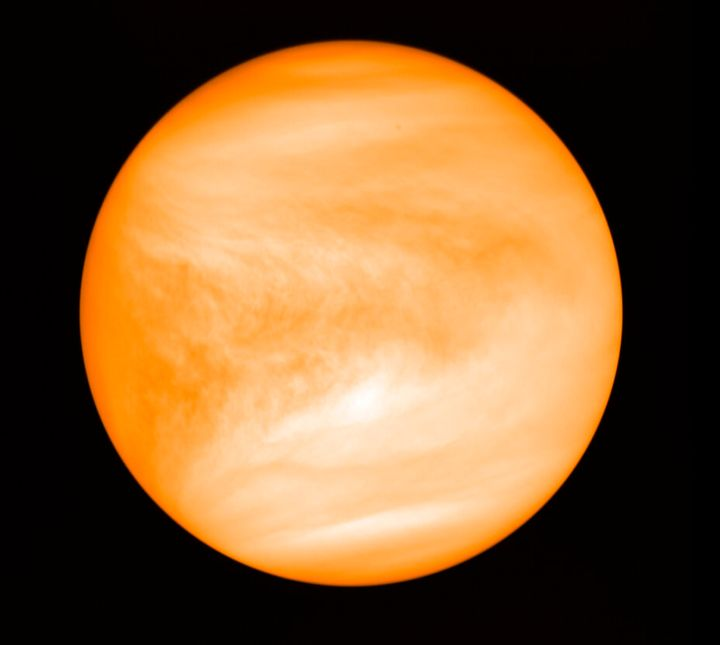 This May 2016 photo provided by researcher Jane Greaves shows the planet Venus, seen from the Japan Aerospace Exploration Agency's Akatsuki probe. (J. Greaves/Cardiff University/JAXA via AP)