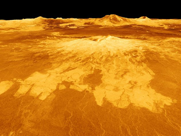 UNSPECIFIED - CIRCA 1754: Computer-generated view of surface of the planet Venus dominated by the volcano...
