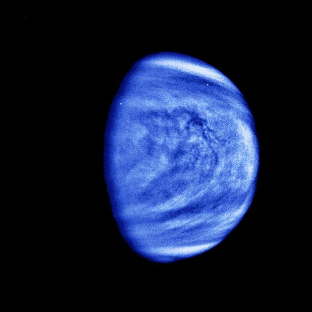 The planet Venus is seen in this photograph taken by the Galileo spacecraft?s Solid State Imaging System on February 14, 1990.