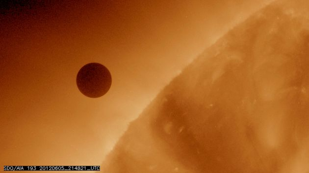 The planet Venus at the start of its transit of the Sun, June 5, 2012.