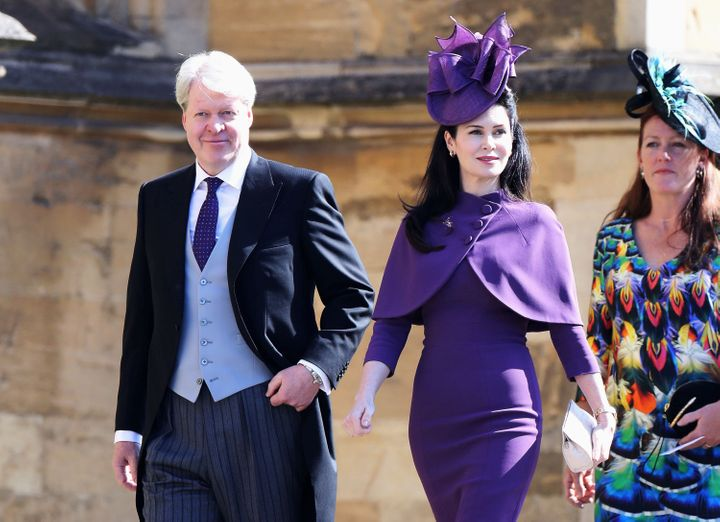 Charles Spencer, 9th Earl Spencer, and his wife Karen Spencer arrive at the wedding of Prince Harry to Meghan Markle on May 1