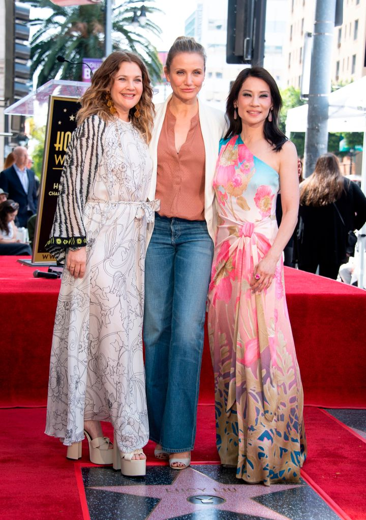 Drew Barrymore, Cameron Diaz and Lucy Liu stand on the star during Liu's Walk of Fame ceremony in Hollywood.