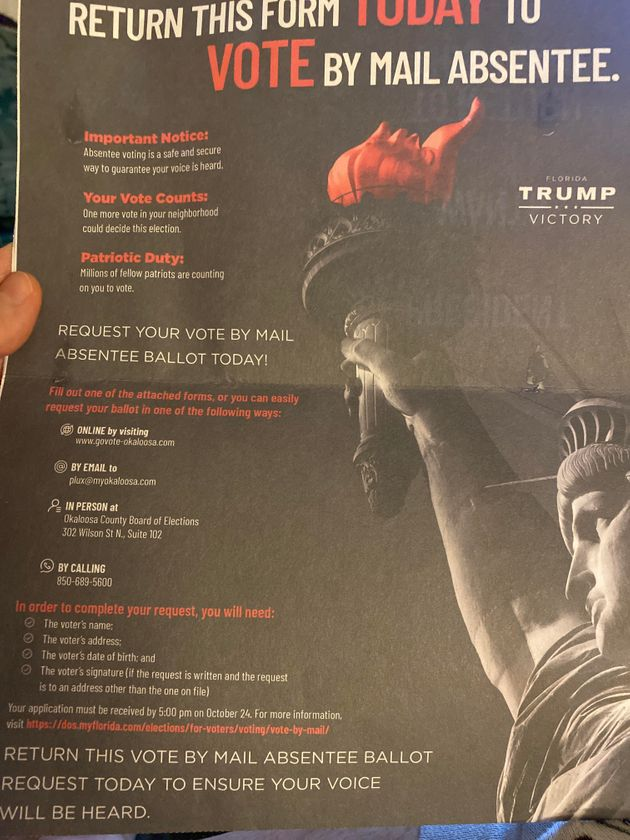 This absentee ballot request form went out to voters in
