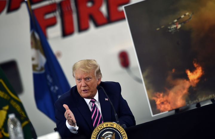 Trump speaks during a briefing on wildfires with local and federal fire and emergency officials in Sacramento, California.