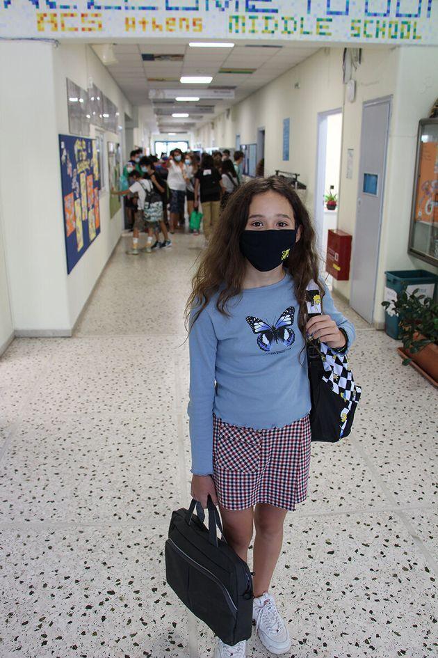 Η Δανάη Πανέρα, μαθήτρια της Α΄ Γυμνασίου (6th Grade, Middle School).