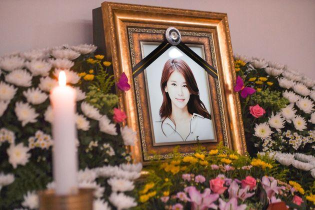 15일 배우 오인혜의 빈소가 마련된 인천 중구 신흥동 인하대학교부속병원 장례식장에 고인의 영정이 놓여져