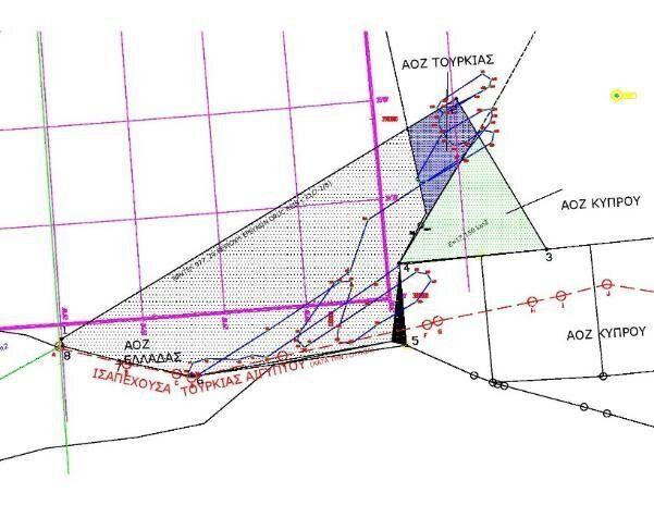 Σχήμα 3: Κίνηση του Τουρκικού ερευνητικού σκάφους ORUC REIS (μπλε γραμμή) από 23/8/20-27/08/20 εντός...