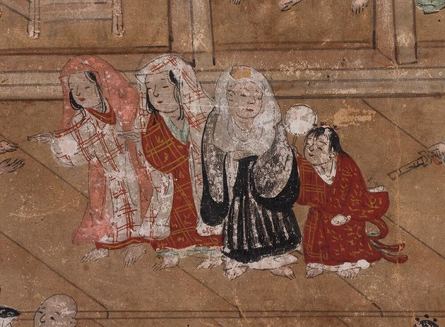 右から2番目の「後家尼」は、夫の死後、再婚せずに剃髪して家に留まった女性。夫の家父長権を引き継ぎ、家長として大きな権限を持っていた/「東山名所図屏風」(第2扇)(部分)/16世紀後半/国立歴史民俗博物館蔵