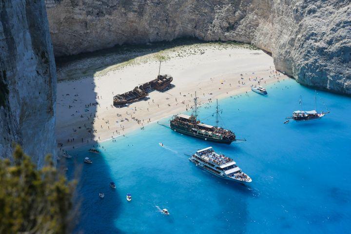 A general view of Zakynthos island, Zante, on August 5, 2016. (Photo by Nicolas Economou/NurPhoto via Getty Images)